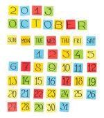 Vícebarevná kalendář: říjen 2013. kousky barevného papíru. — Stock fotografie