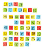 Multicolor calendar: October 2013. Pieces of colored paper. — Stockfoto