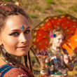 Tribal dancers. Women in ethnic costumes. — Стоковое фото