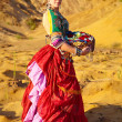 Tribal dancers. Women in ethnic costumes. — Stock Photo