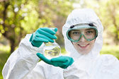 Ecology and environmental pollution. Water testing. — Stock Photo