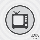 Single vector monochrome flat icon. TV. — Stock Vector