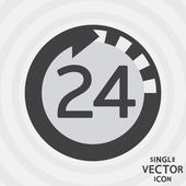 Single vector monochrome flat icon. 24 hours. — Stock Vector