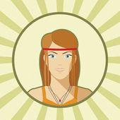 Single vector woman avatar. — Stock Vector