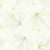 Seamless vector background. Green leaves with veins. — Vector de stock