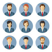 Set of vector business characters in flat design. — Stock Vector
