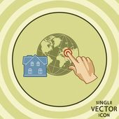 Single vector color flat icon. House geo tagging. — Stock Vector