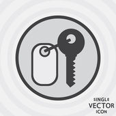 Single vector monochrome flat icon. Key. — Stock Vector