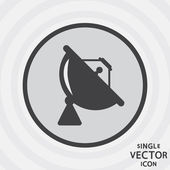 Single vector monochrome flat icon. Satellite dish. — Stock Vector