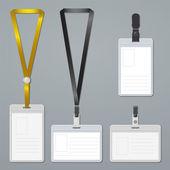 Badge, clip and lanyard vector templates. — Stock Vector