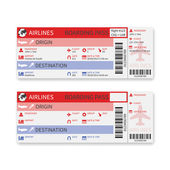 Vector airline boarding pass ticket isolated on white background. — Vector de stock