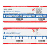 Vector airline passenger and baggage ( boarding pass ) tickets with barcode. — Stock vektor