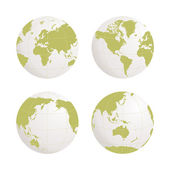 Globe earth vector icon set on white background — Stock Vector