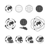 Travelling vector icon set with globe earth on white background — Stock Vector