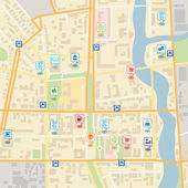 Vector city map with pin location pointers — Stock Vector