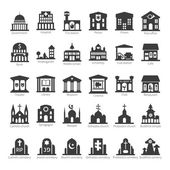 Common buildings and places vector icon set — Stock Vector