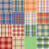 Big vector tartan textile texture set. — Stock vektor