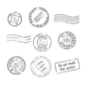 Vector set of vintage style post stamps from countries and cities around the world — Stock Vector