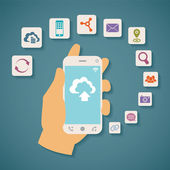 Vector concept of cloud services on mobile phone. — Stock Vector