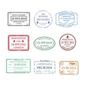 Vector international travel visa stamps set — Stock Vector