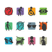 Vector colorful icon set of access signs for physically disabled people — Stock Vector