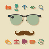 Vector concept of virtual mobile pc glasses functions — Stockvektor