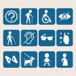Vector colorful icon set of access signs for physically disabled people — Stock Vector #51603983