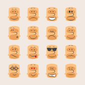 Vector icon set of smiley faces emotions mood and expression — Vector de stock
