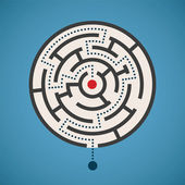 Vector round shape maze concept with path — Stock Vector