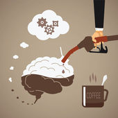 Vector concept of vigorous mind with coffee or caffeine — Stock Vector