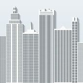 Modern cityscape vector illustration with office buildings and skyscrapers. Part C. — Stock Vector