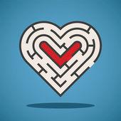 Vector heart shape maze concept — Stock Vector
