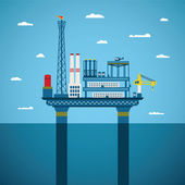 Vector concept of oil and gas offshore industry — Stock Vector