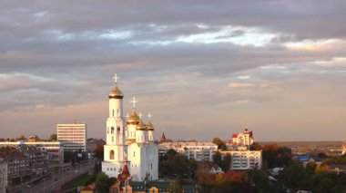 Bryansk Cathedral, Russia at sunset — Stock Video