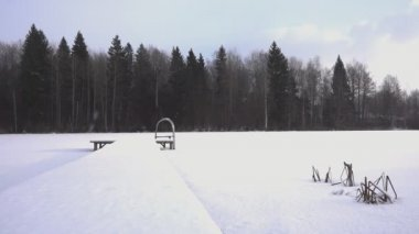 Winter season at frozen lake — Wideo stockowe