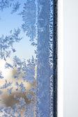 Winter patterns on window glass — Stock Photo