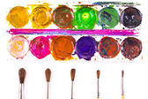 Set of used watercolour paints and paintbrushes — Stock Photo