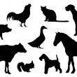 Stock Vector: Animal Farm Silhouette
