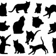 Stock Vector: Cat Silhouettes