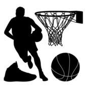 Basketbol siluet — Stok Vektör
