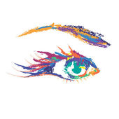 Painted Colored Eye — Stock Vector