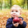 Cute little boy in the autumn park with a large red apple — Stock Photo