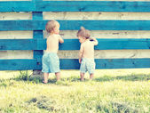 Two little cute boy standing back — Stock Photo