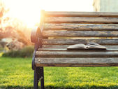 Open book lying on a bench at sunset — Stockfoto