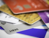 Stack of credit cards debt, loan or purchase concept — Stock Photo
