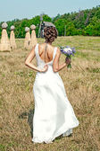 Beautiful bride standing in the field — Stock Photo