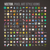 Vector color pixel art style icons set — Stock Vector