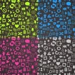 Pattern media pixels art style icons set — Stock Photo #35160667