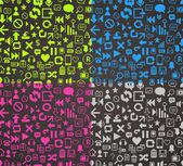 Vector pattern media pixels art style icons set — Stock Vector