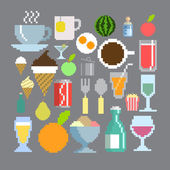 Pixel art style food and drink set — Stock Vector